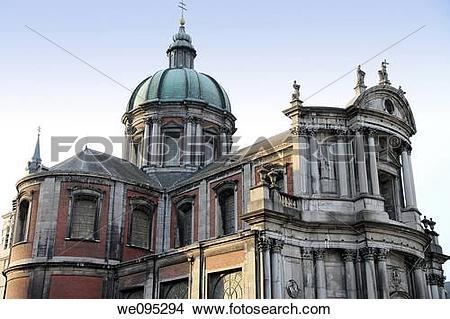 Stock Photo of Saint Aubain Cathedral, Namur Town, Wallonia.