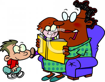 African American Nanny Reading to The Children Clip Art.