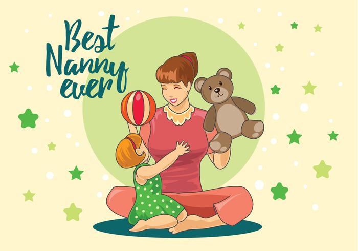 Nanny Playing with Children in the Home Vector.