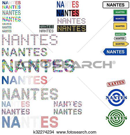Clipart of Nantes text design set k32274234.