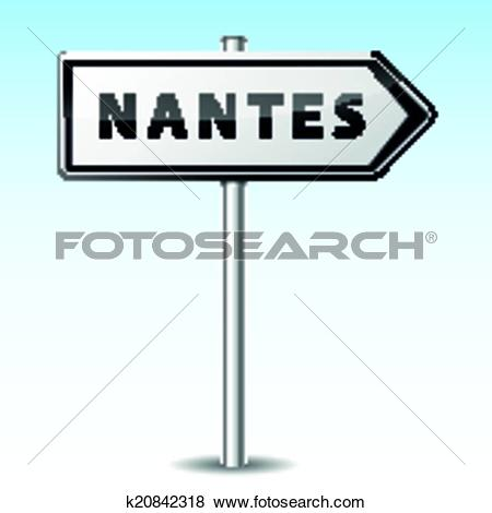 Clip Art of Vector nantes directional sign k20842318.