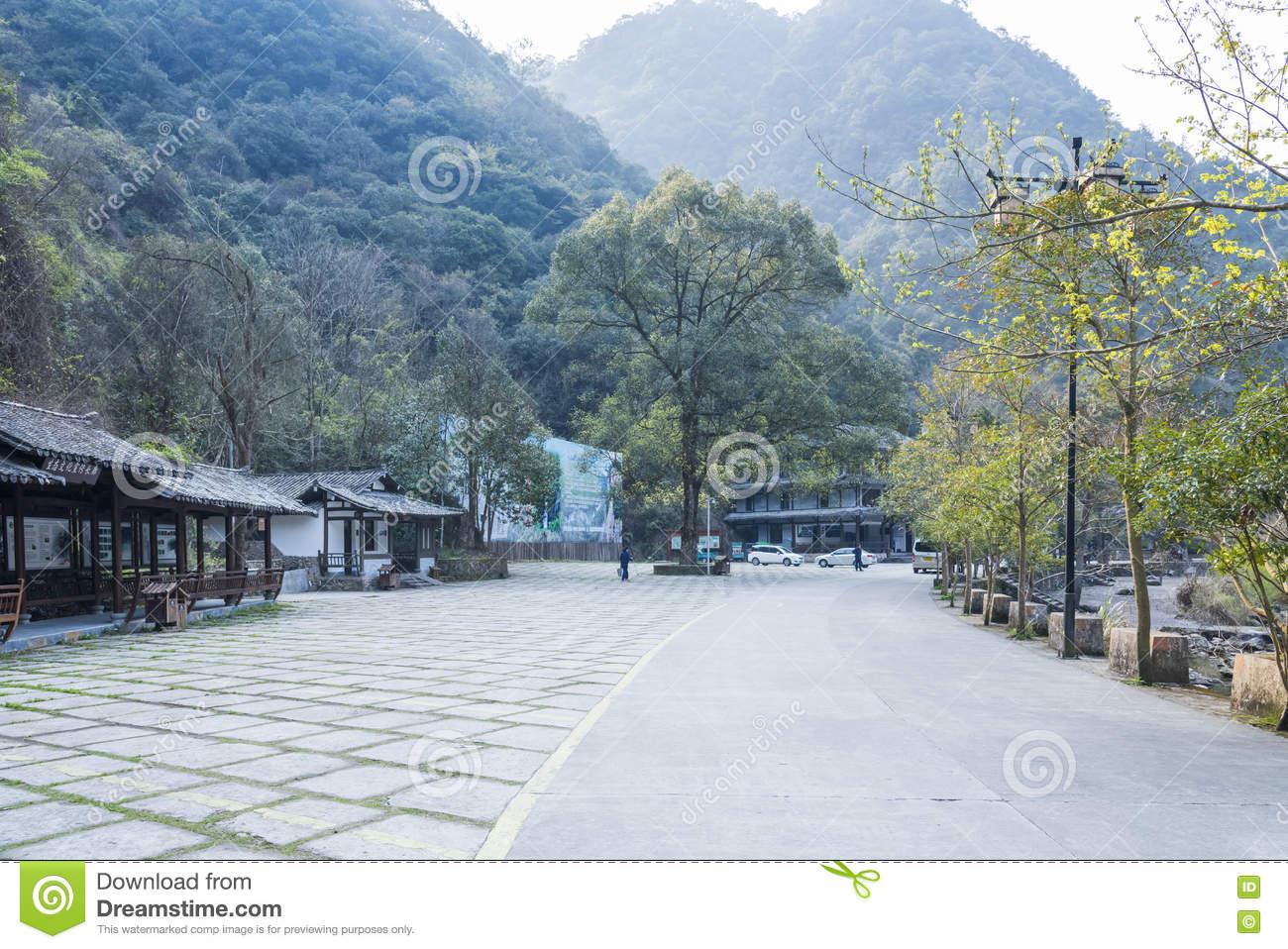 Longwan Lake National Forest Park Parking Lot Editorial Photo.