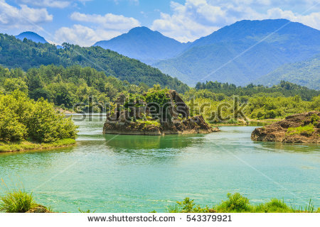 Colorful Limestone Pools Huanglong Valley China Stock Photo.