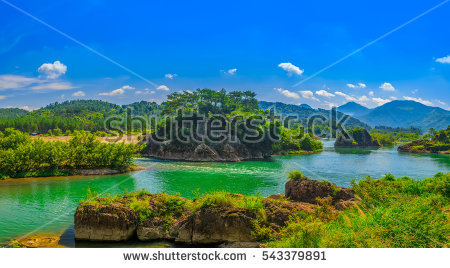 Surreal Landscape By Song River Vang Stock Photo 114936529.