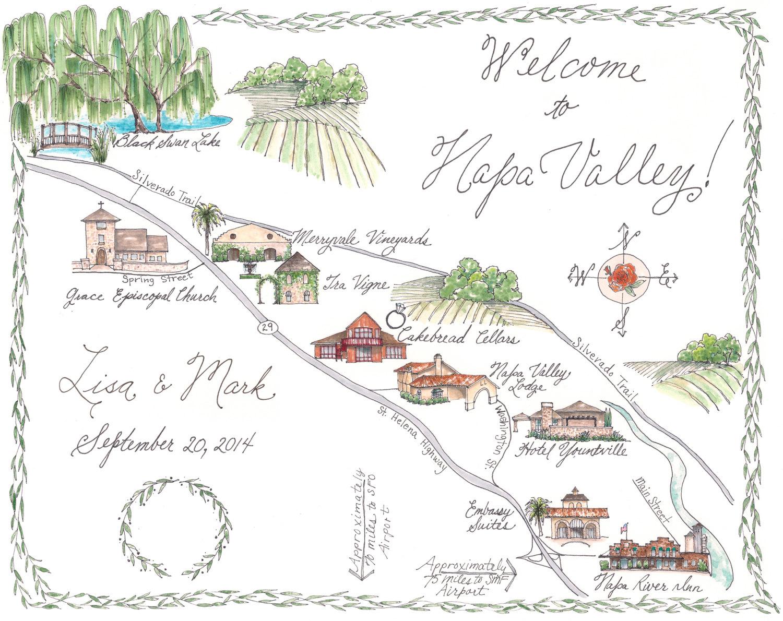 Napa Valley Custom Wedding Map Illustrated by LittleHouseShop.