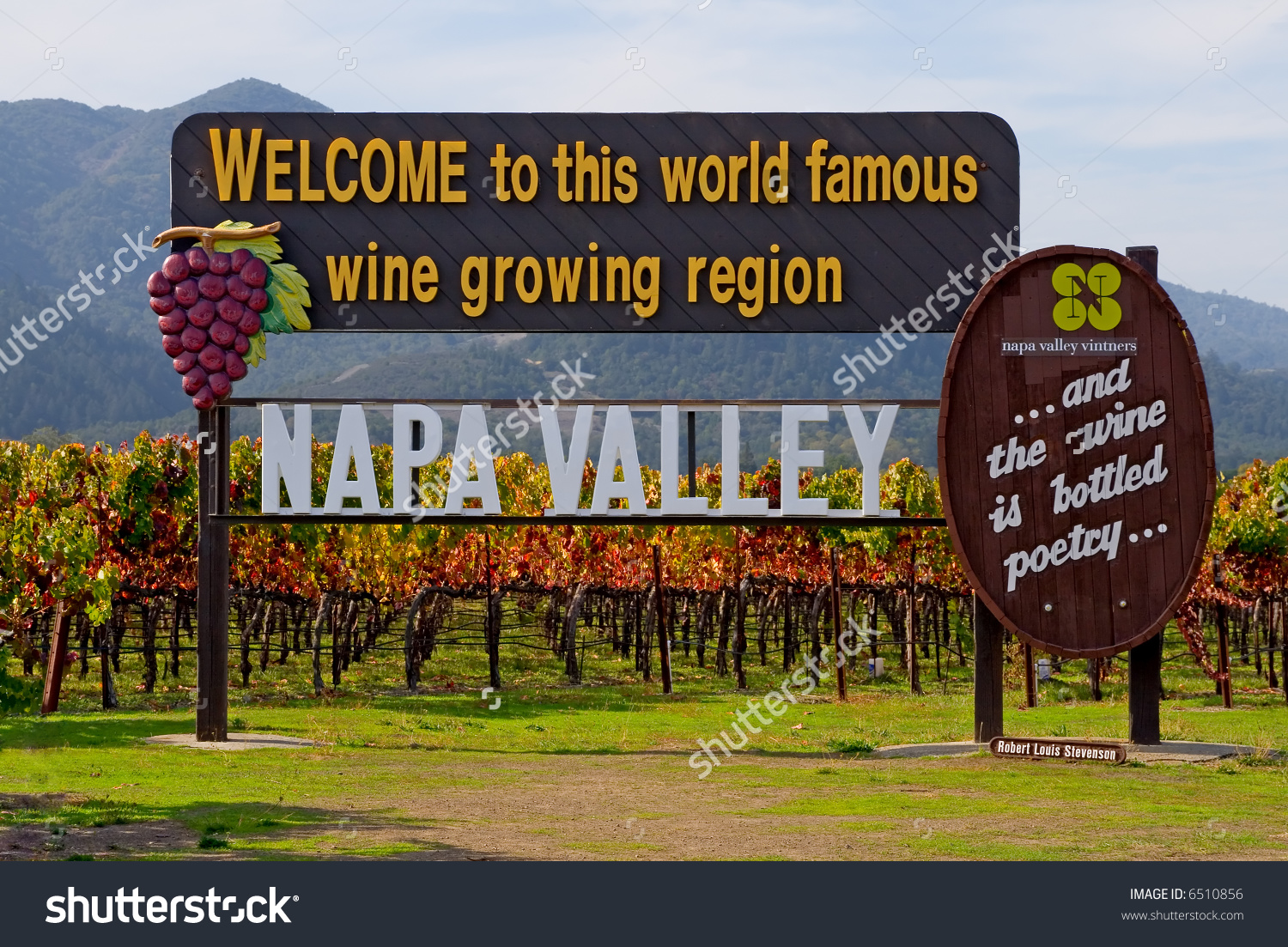 Napa Valley Sign Before You Enter Napa Valley In Autumn Stock.