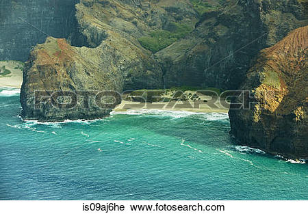 Stock Photography of Honopu Beach, Na Pali Coast, Kaua'i, Hawaii.