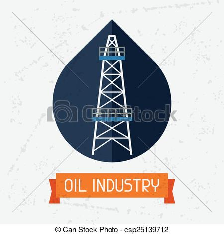 Vector Clip Art of Oil derrick in oilfield background. Industrial.
