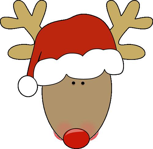 Reindeer wearing a santa hat..