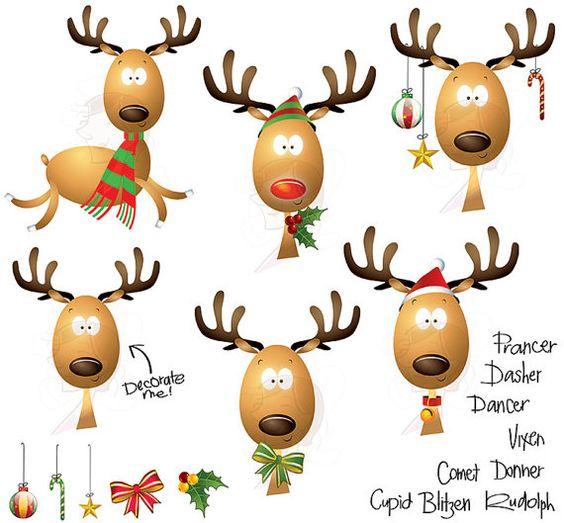 Christmas Clipart Reindeer Scrapbook Teacher Craft Graphics.