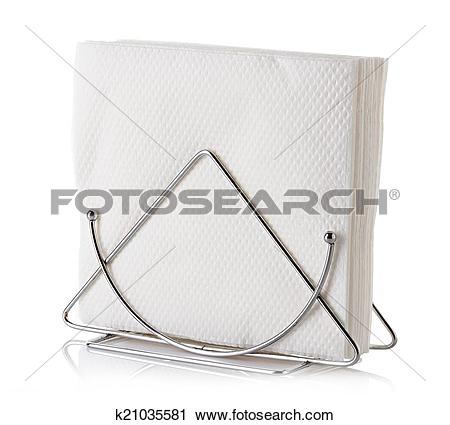 Stock Photography of table napkin holder with napkin, isolated on.