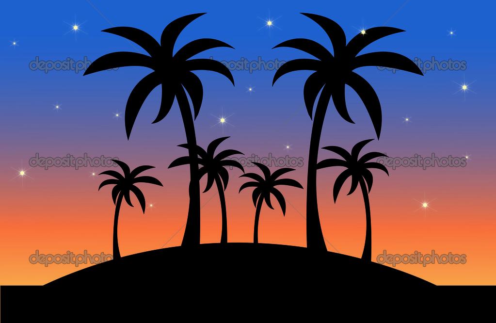 Clip art illusztrációja egy trópusi szigeten jelenet, a naplemente.