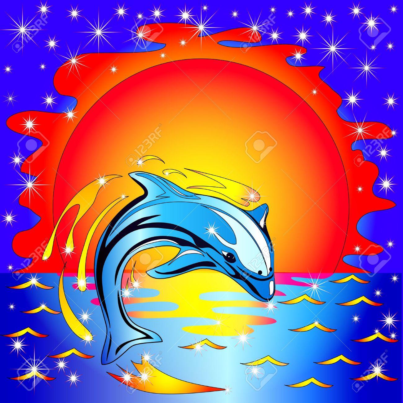 Illusztráció Ugrás Delfin Naplemente Előtt A Tengeren Royalty Free.