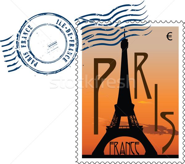 Franciaország · vektor · torony · naplemente · posta · utazás.