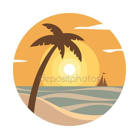 Egzotikus pálmafák. tengerpart naplemente — Stock Vektor.