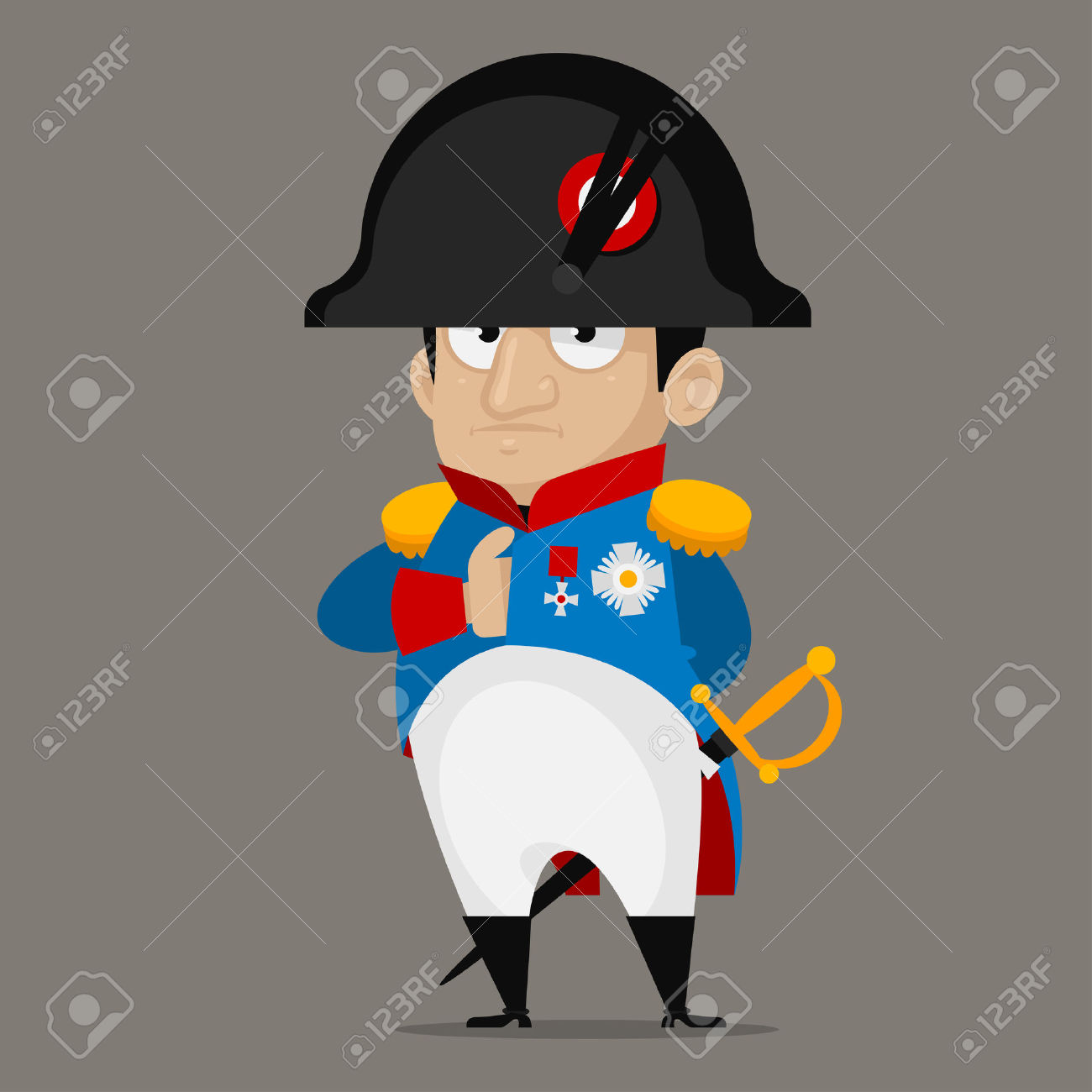 Napoleon Bonaparte Cartoon Character Royalty Free Cliparts.