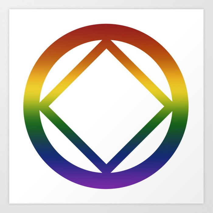 Narcotics Anonymous Rainbow Pride Symbol Art Print by aschmidtart.