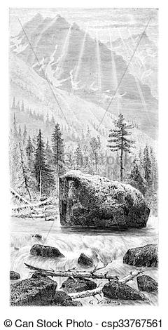 Stock Illustration of Torrent and Whitewater of the Narew River in.