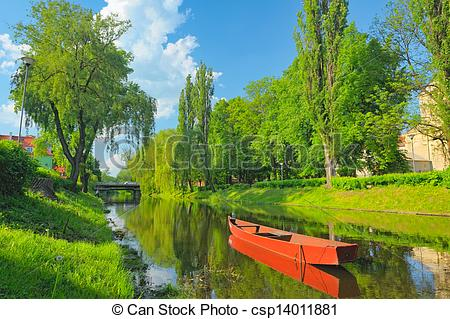 Pictures of Boat on the Narew river. Spring landscape. csp14011881.