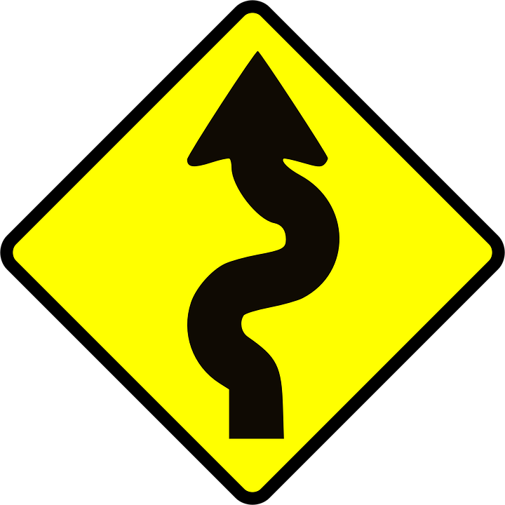 Free vector graphic: Winding, Road, Caution, Signs.