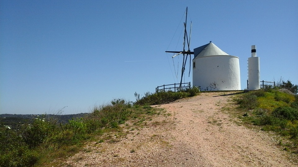 Free photo: Wind Mill, Portugal, Hill Top, Old.