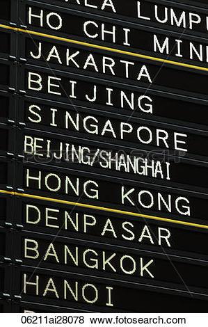 Pictures of Japan,Tokyo,Narita Airport Departure Board.