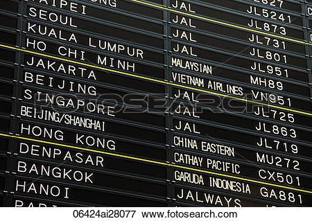 Picture of Japan,Tokyo,Narita Airport Departure Board 06424ai28077.