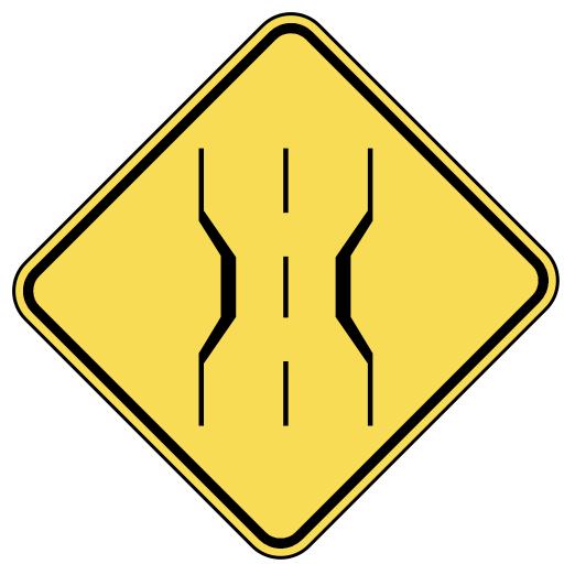 Road Narrows Sign.