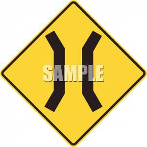 Narrow Road Caution Sign.