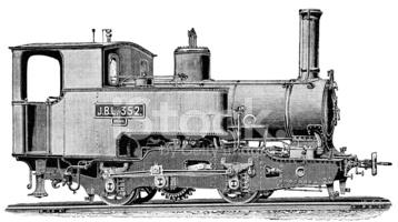 Narrow Gauge Steam Locomotive stock vectors.