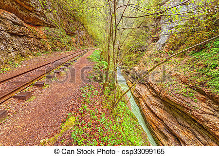 Stock Image of Narrow gauge railway. Guama gorge. Caucasus. Russia.