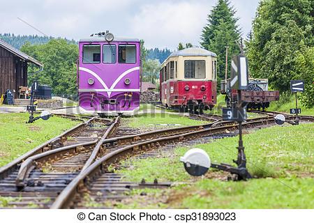 Stock Photo of narrow gauge railway, Nova Bystrice, Czech Republic.