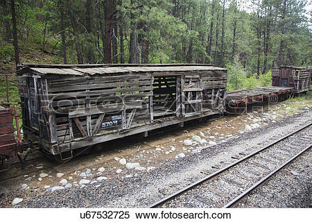 "Stock Image of ""Old box car along Durango and Silverton Narrow."