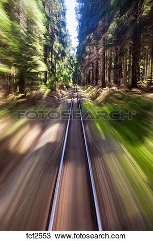 Stock Photo of View of narrow gauge railroad track from rear.