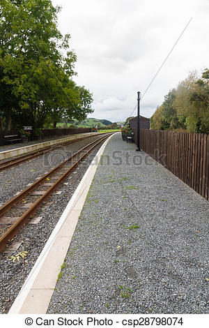 Picture of Narrow gauge railway or railroad track with platform.