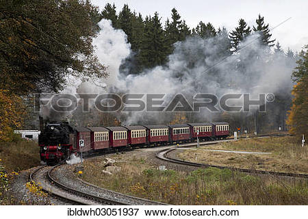 """Picture of """"Steam locomotive and train of the Harz Narrow Gauge."""