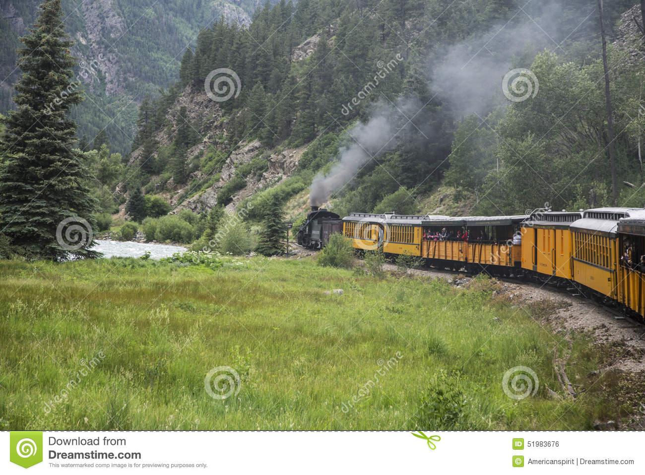 Durango And Silverton Narrow Gauge Railroad Steam Engine Train.