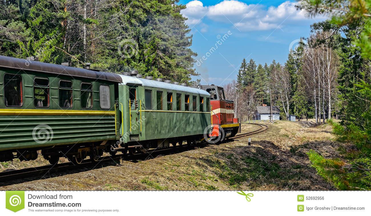 Passenger Train On Old Narrow.