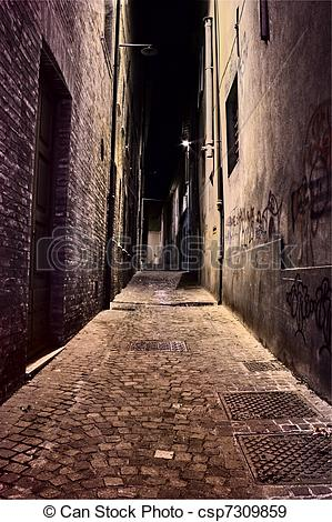 Stock Photographs of narrow lane in the old town.