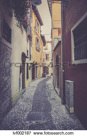 Picture of Italy, Veneto, Malcesine, Narrow lane in old town.