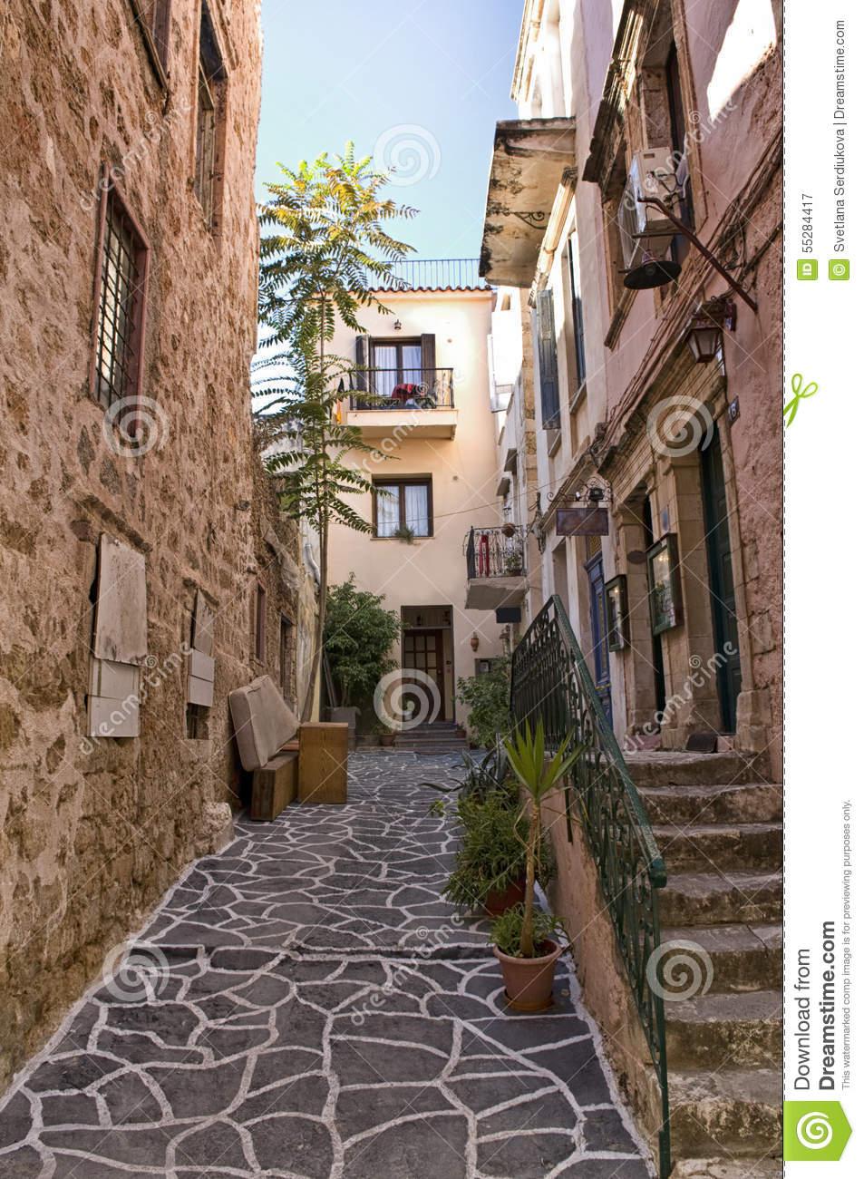 Narrow Lane In Chania, Crete Stock Photo.