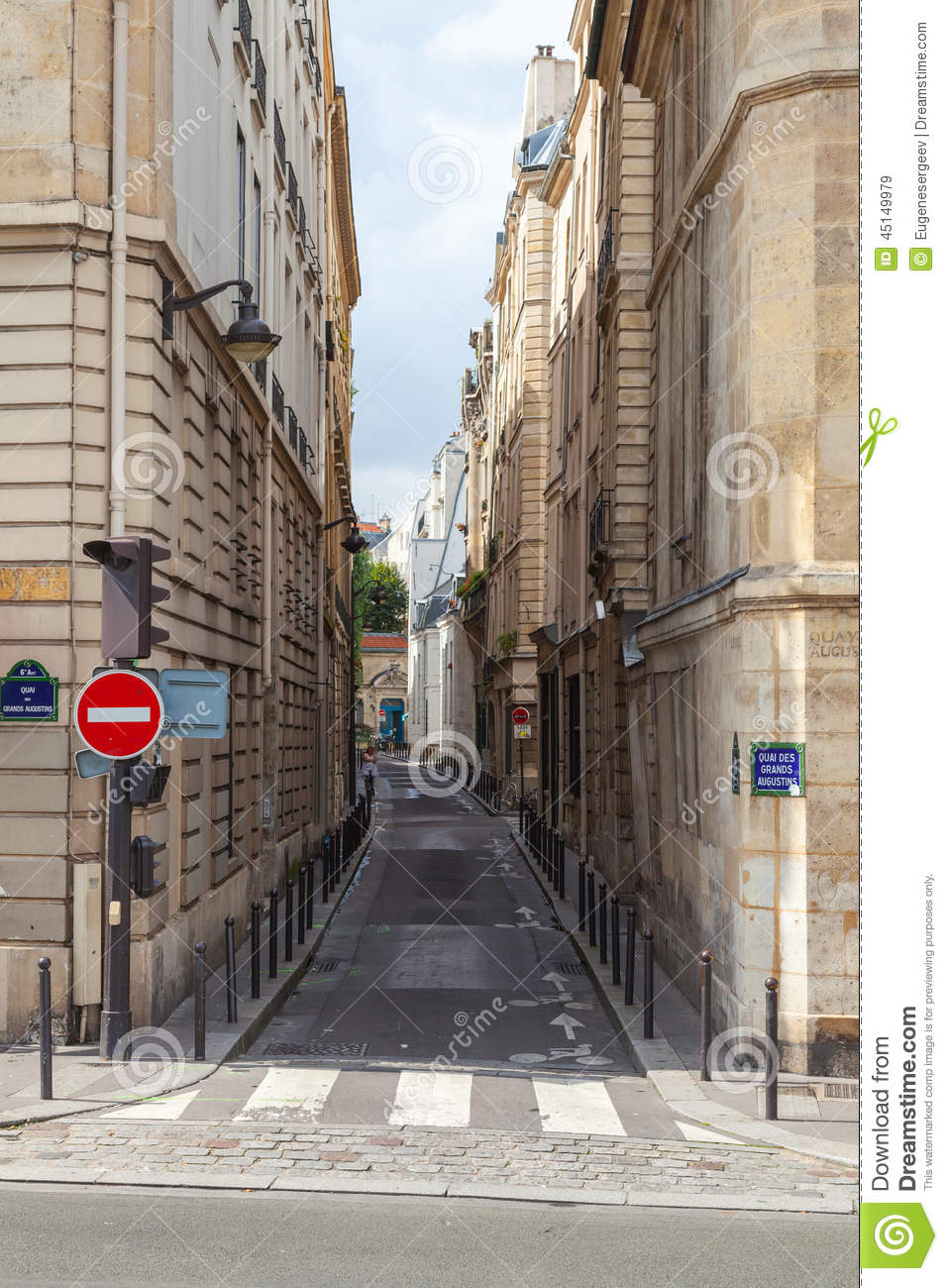 Narrow Street Perspective, Rue Seguier, Paris Stock Photo.