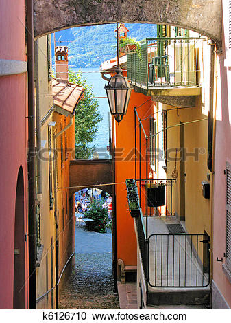 Stock Photography of Narrow street of Varenna town at the lake.