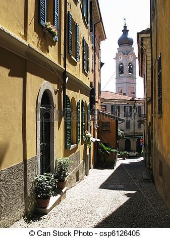 Stock Images of NArrow street of Menaggio, Italy csp6126405.