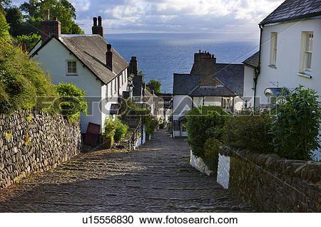 Stock Photography of England, Devon, Clovelly. Steep narrow.