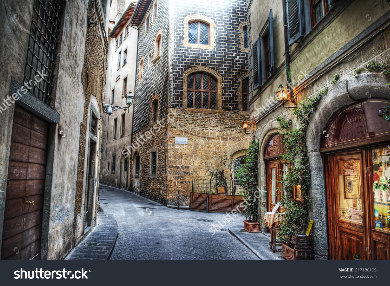 Beautiful Narrow Street Florence Italy Stock Photo 317180195.