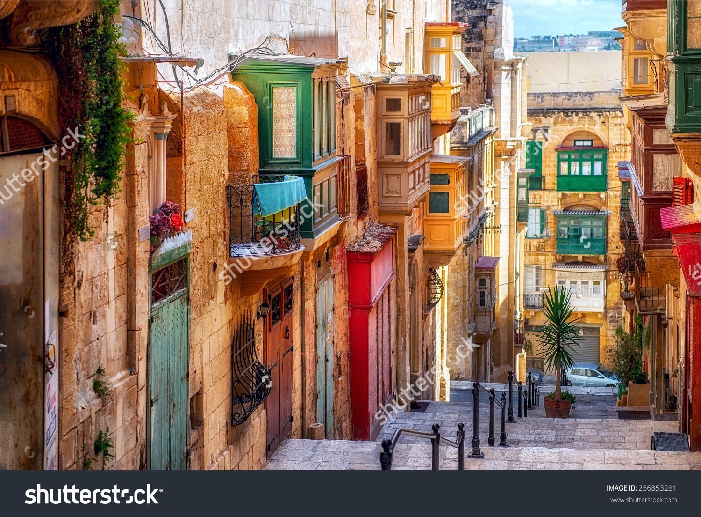 Narrow Street Valletta Capital Malta Stock Photo 256853281.