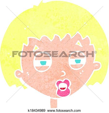 Clip Art of cartoon woman narrowing eyes k18434989.