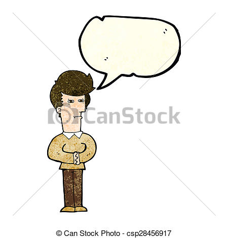 Clipart of cartoon man narrowing his eyes with speech bubble.