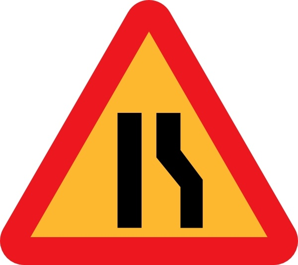 Narrowing Lanes Road Sign clip art Free vector in Open office.